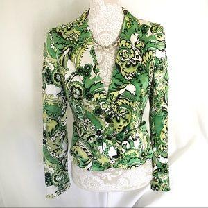 Kay Unger / Green, White Floral Print Silk Blazer